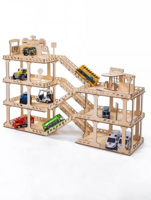 Парковка с автосервисом и заправкой пять уровней деревянный конструктор