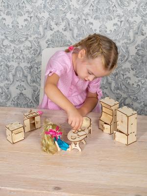 """Мебель для кукол """"Кухня"""" конструктор деревянный для малых кукол"""