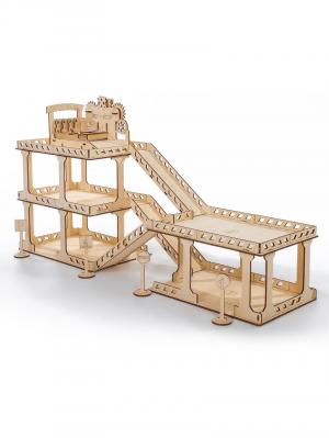 Парковка с автосервисом три уровня деревянный конструктор
